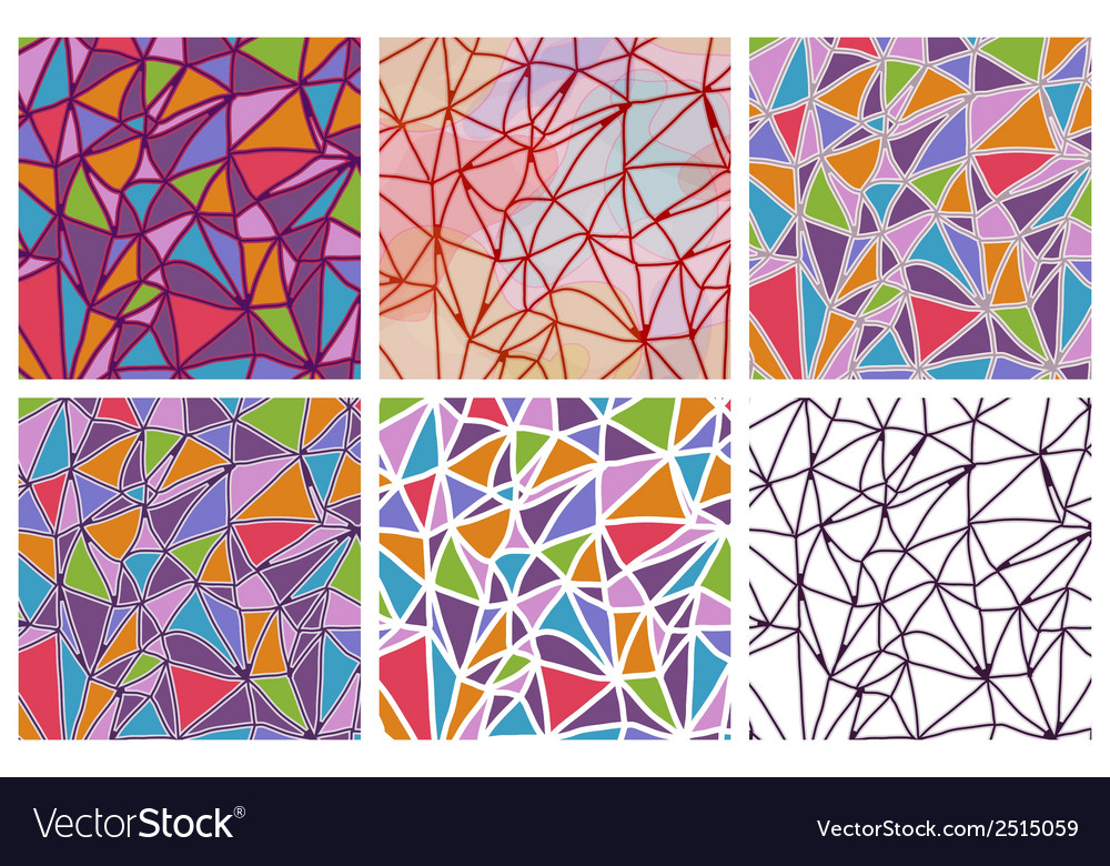 Set of seamless triangles patterns vector | Price: 1 Credit (USD $1)