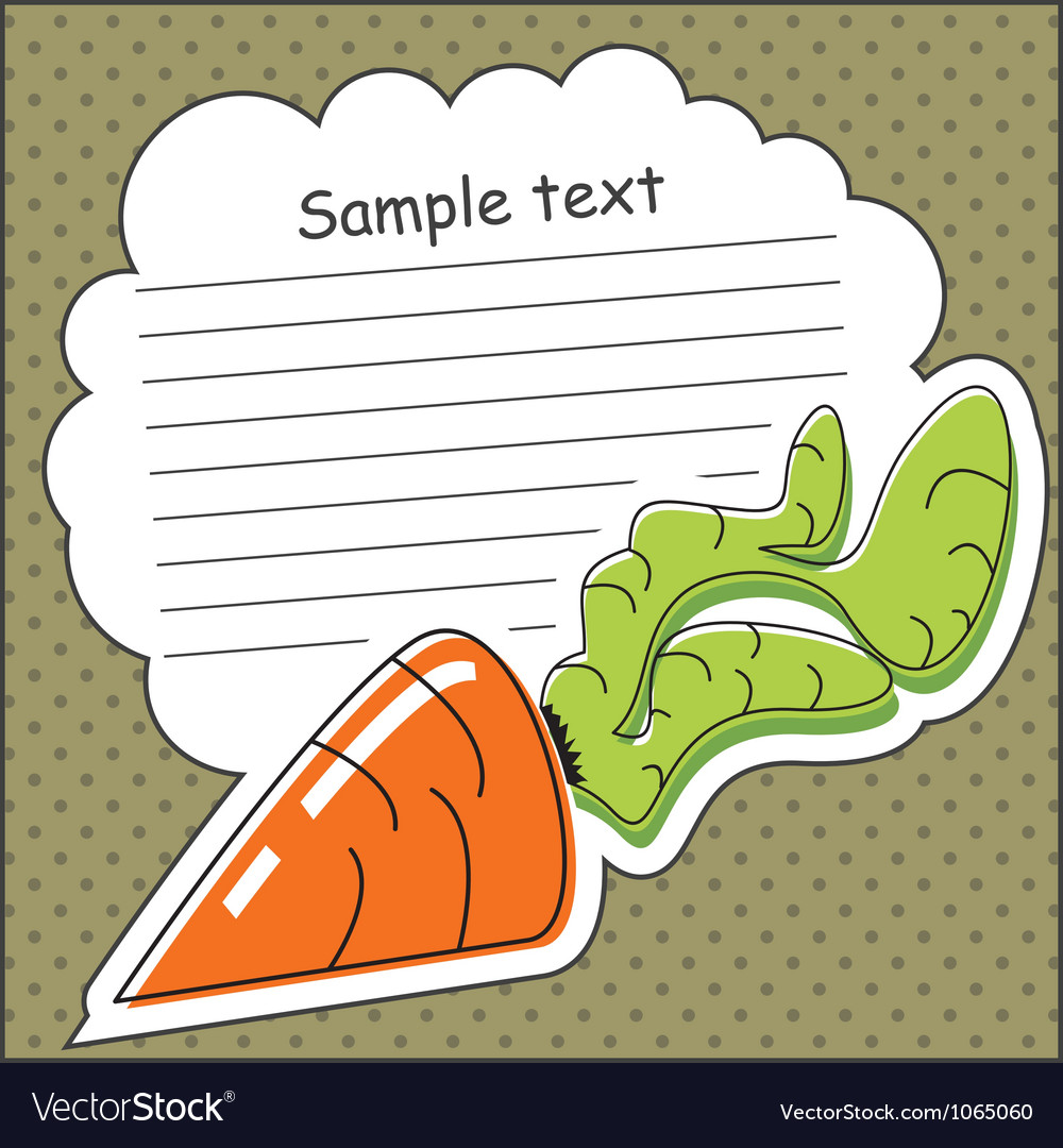 Card with carrot and message cloud vector | Price: 1 Credit (USD $1)