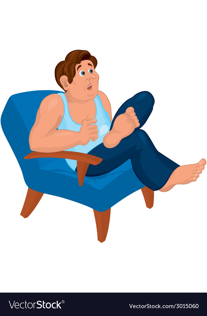 Cartoon man in blue top sitting in armchair with vector | Price: 1 Credit (USD $1)