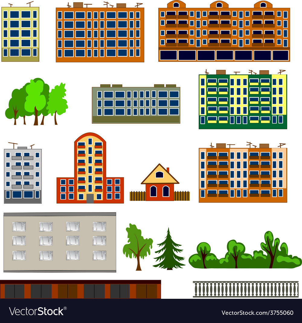 City houses set vector | Price: 1 Credit (USD $1)