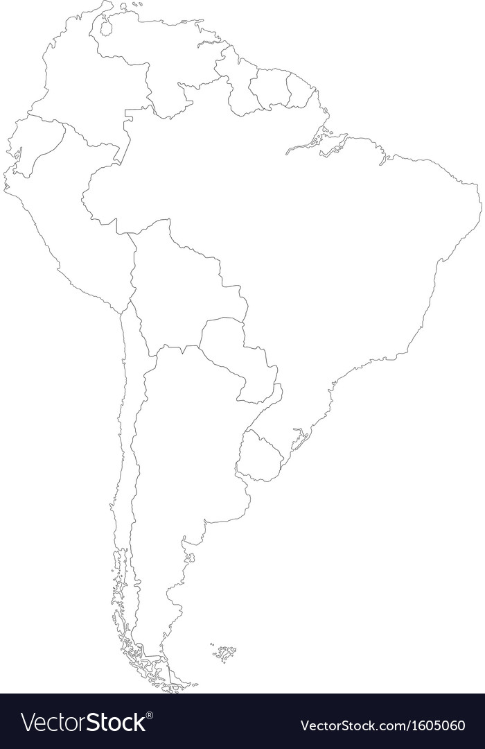 Contour south america map vector | Price: 1 Credit (USD $1)
