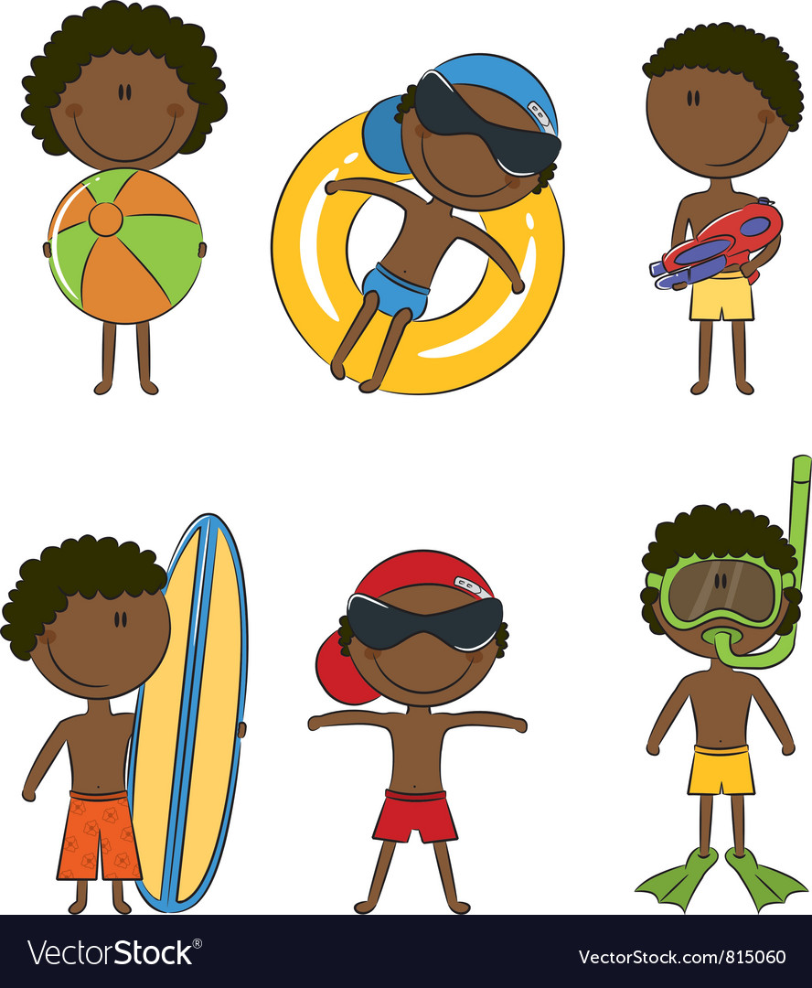 Cute happy african-american boys on the beach vector | Price: 3 Credit (USD $3)