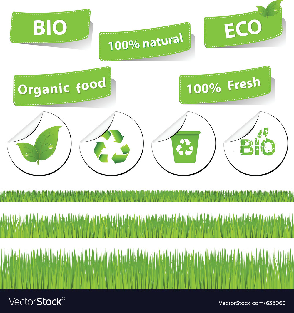 Eco set with grass vector | Price: 1 Credit (USD $1)