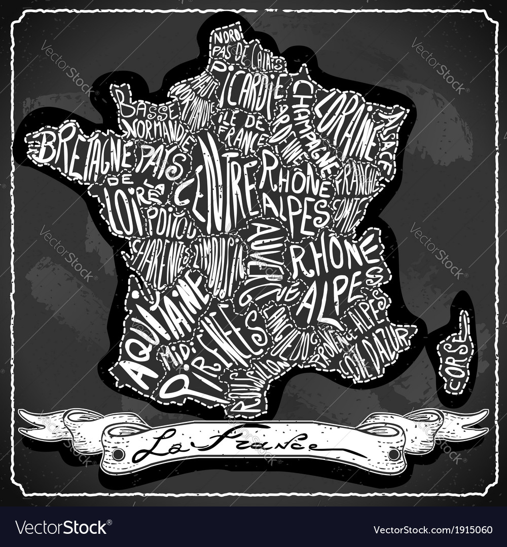 France map on vintage handwriting blackboard vector | Price: 1 Credit (USD $1)