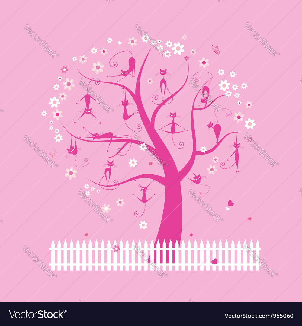 Funny cats on spring tree for your design vector | Price: 1 Credit (USD $1)