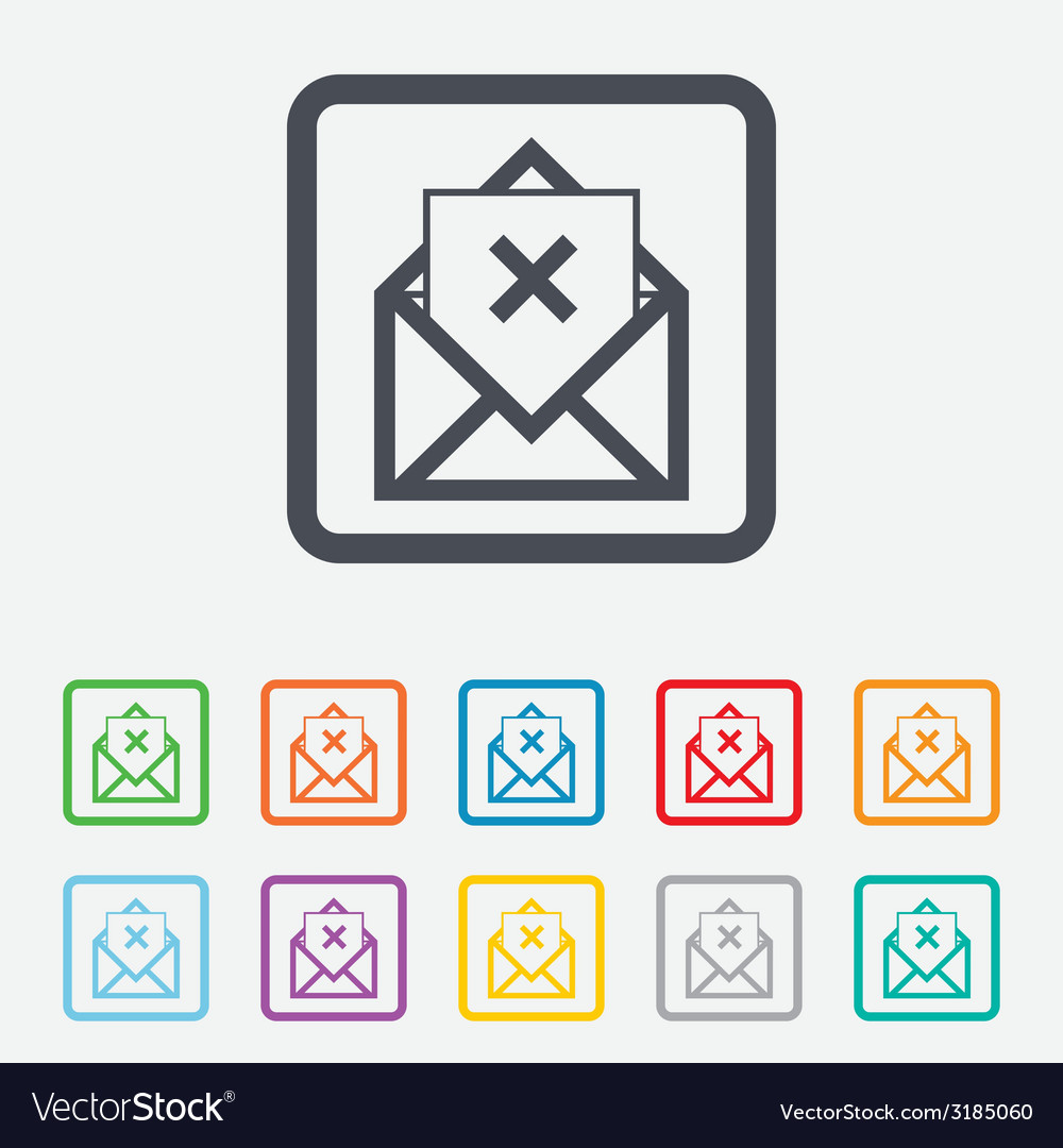 Mail delete icon envelope symbol message sign vector | Price: 1 Credit (USD $1)