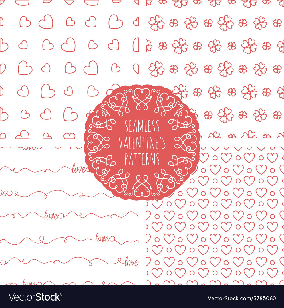 Set of four seamless valentines patterns vector | Price: 1 Credit (USD $1)