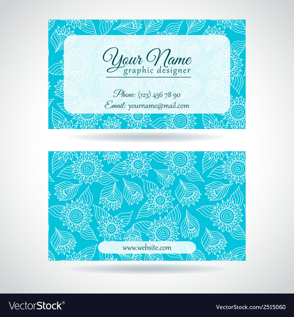 Template of business card with lace flowers vector | Price: 1 Credit (USD $1)