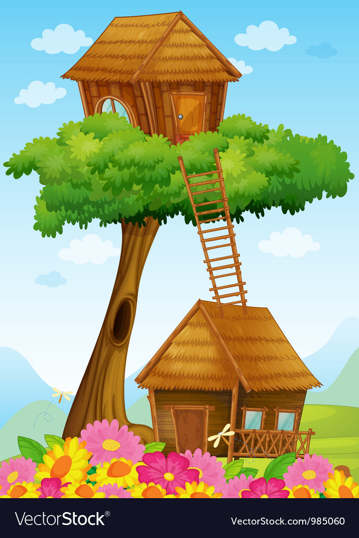 Tree house and hut vector | Price: 1 Credit (USD $1)