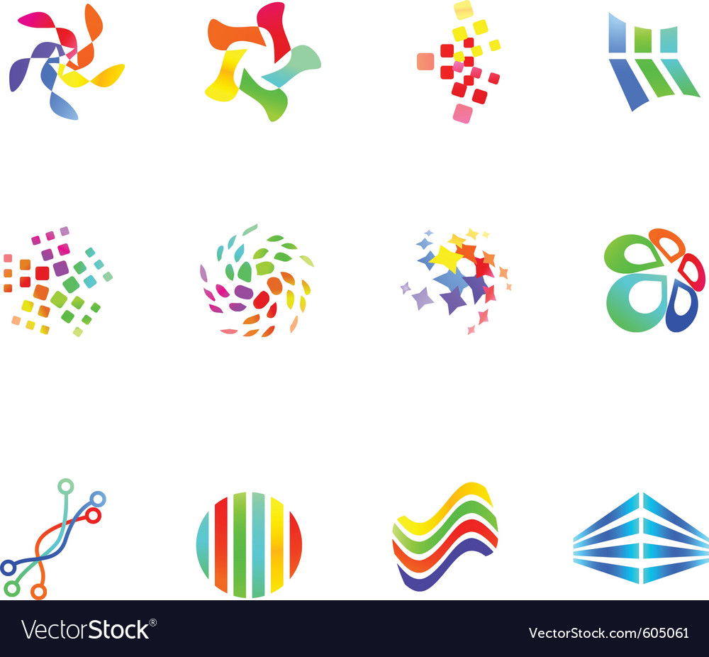 12 colorful symbols set 17 vector | Price: 1 Credit (USD $1)