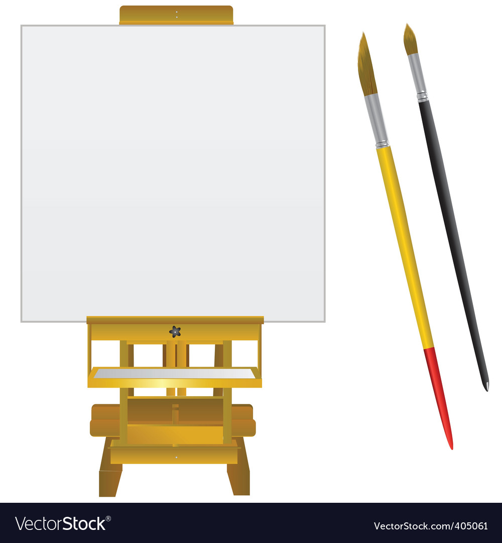 Canvas art board and brushes vector | Price: 1 Credit (USD $1)