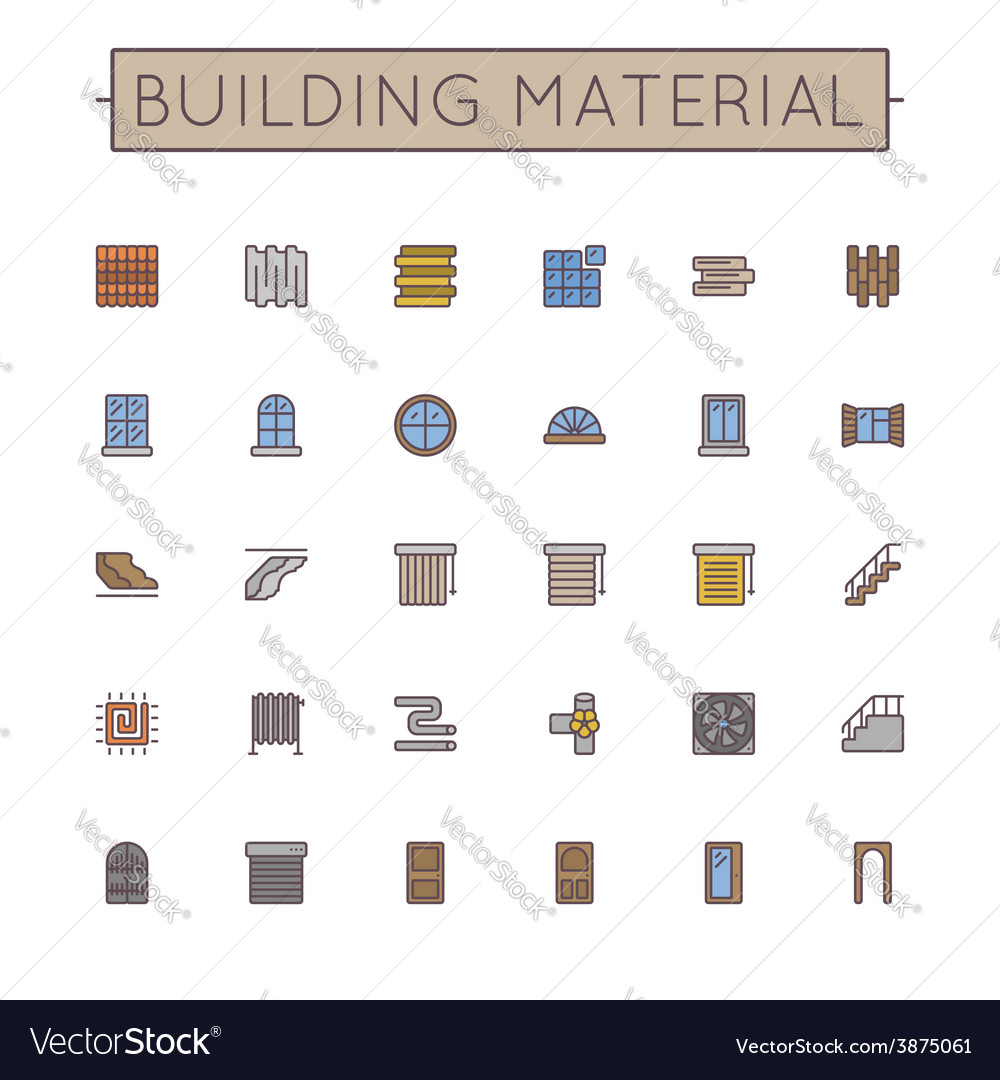 Colored building material line icons vector | Price: 1 Credit (USD $1)