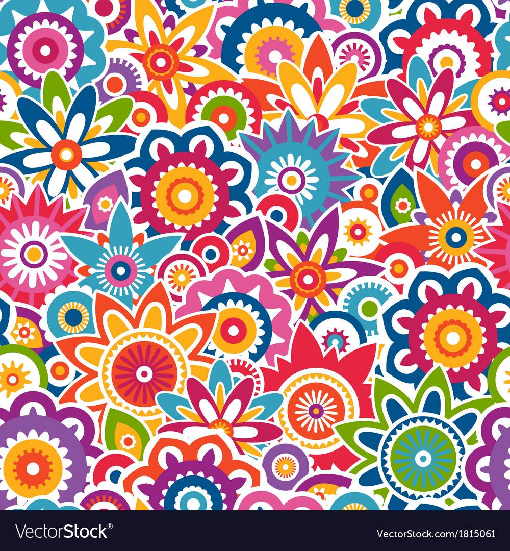 Colorful floral pattern seamless background vector