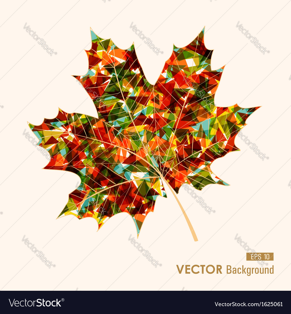 Colorful leaf with triangles inside autumn vector | Price: 1 Credit (USD $1)