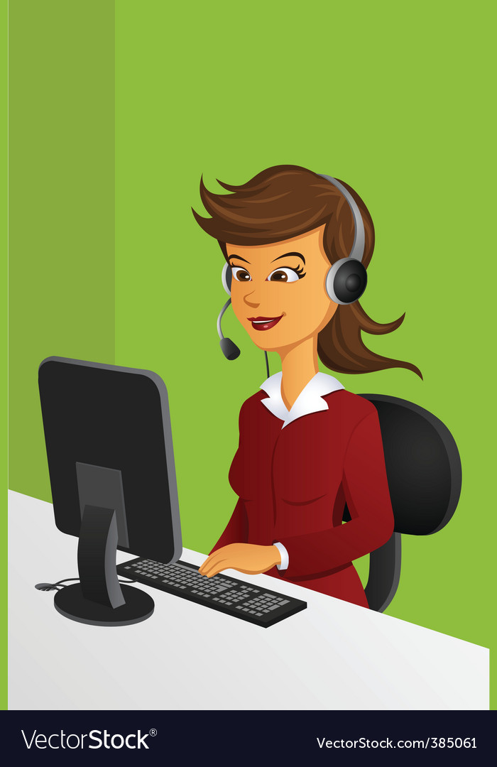 Customer service woman vector | Price: 1 Credit (USD $1)