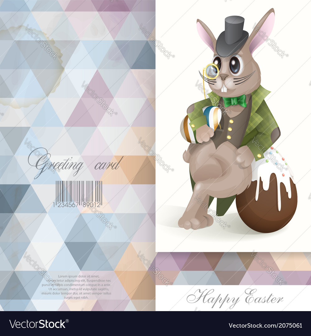 Easter bunny with chocolate egg vector | Price: 3 Credit (USD $3)