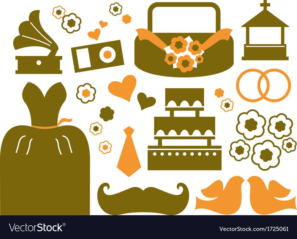 Retro wedding design elements - brown vector | Price: 1 Credit (USD $1)