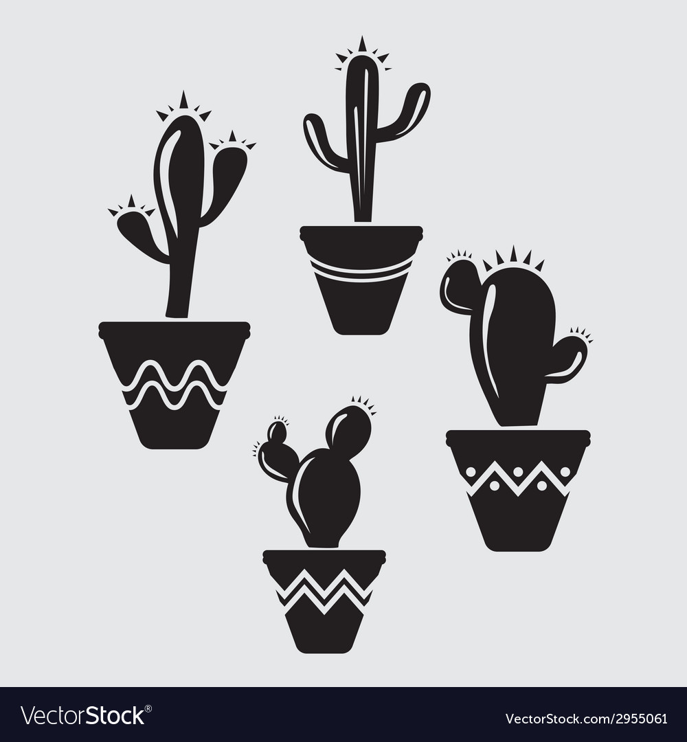 Set of cactus icons vector | Price: 1 Credit (USD $1)