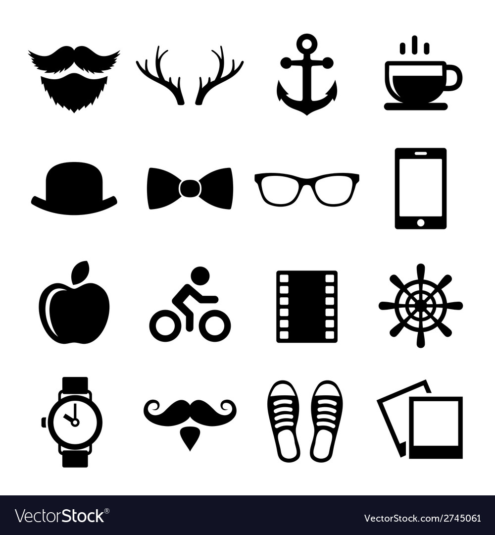 Set of vintage hipster icons and logos vector | Price: 1 Credit (USD $1)