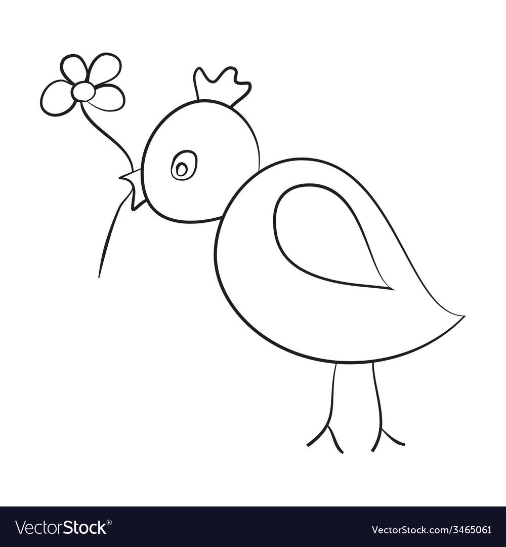 Sketch of the bird with a flower in its beak vector | Price: 1 Credit (USD $1)