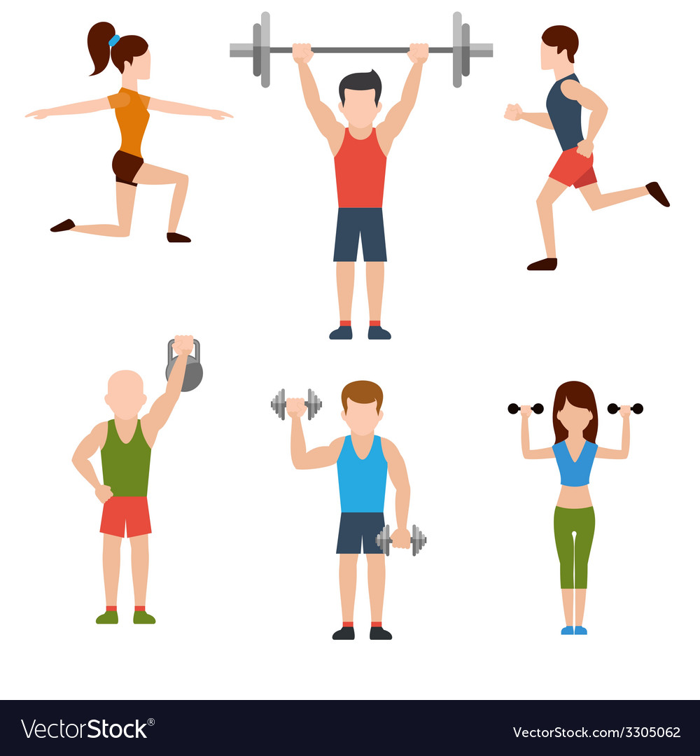 Exercises with weights and warm-up icons vector | Price: 1 Credit (USD $1)