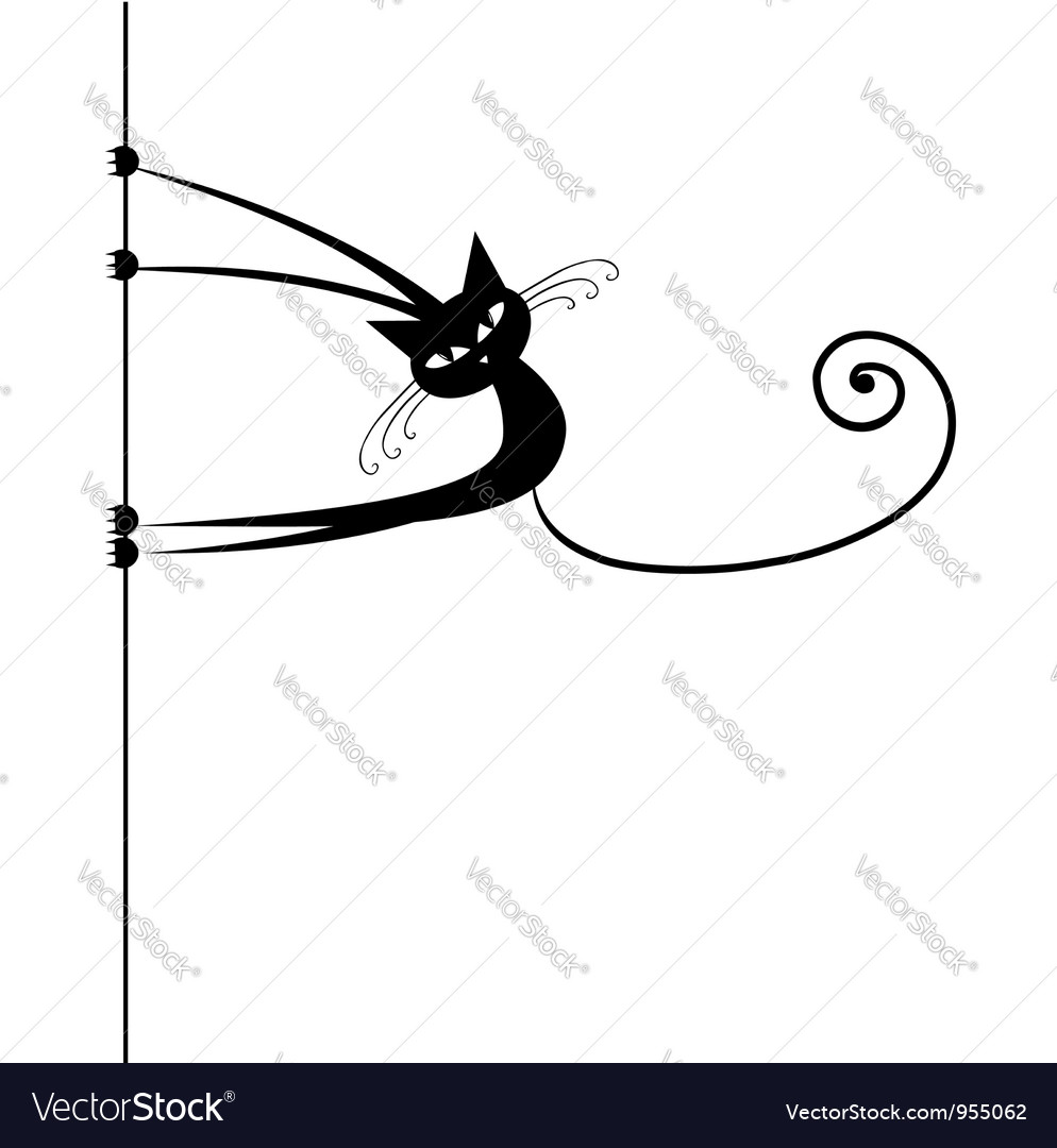 Funny cat silhouette black for your design vector | Price: 1 Credit (USD $1)