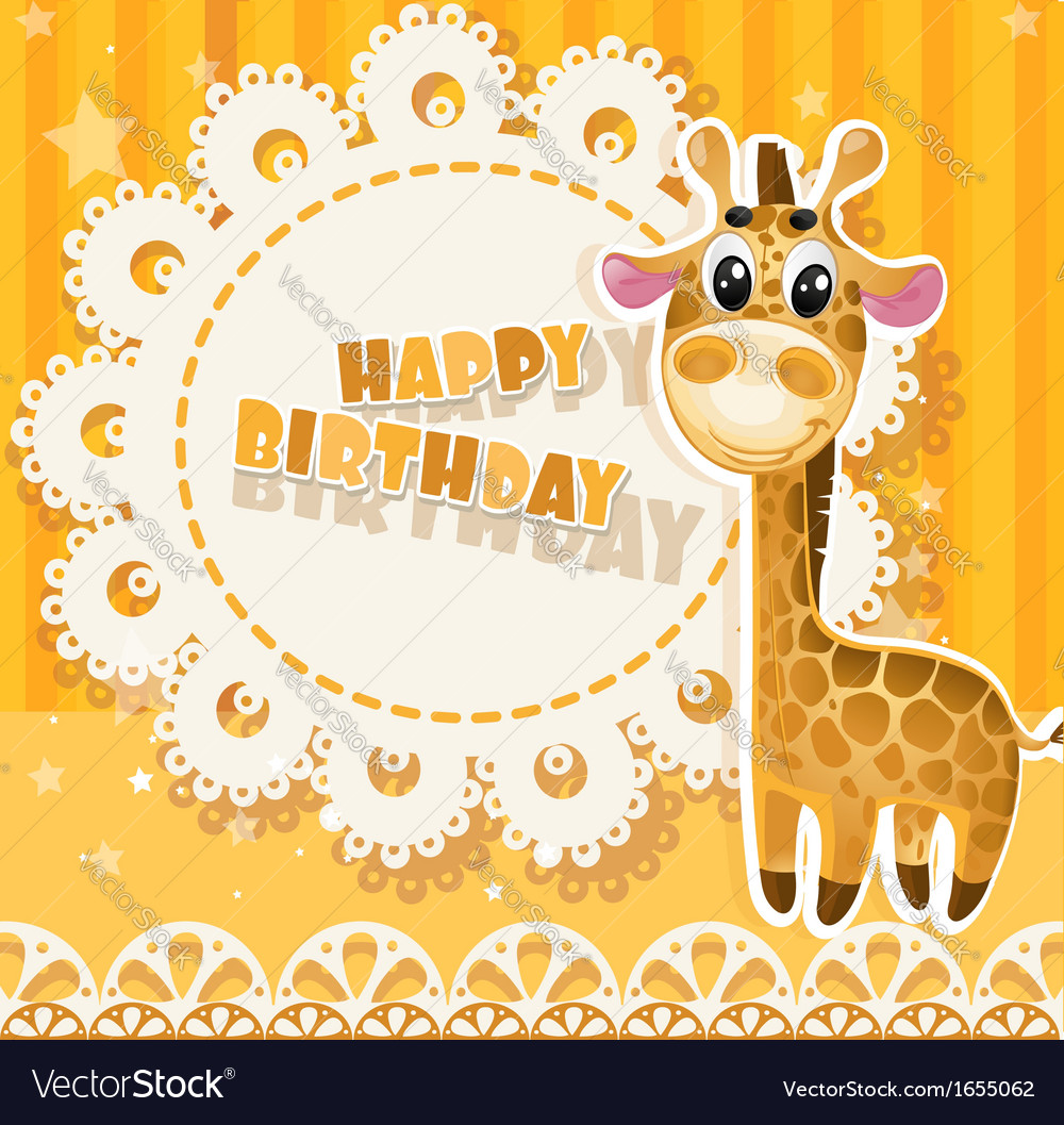 Happy birthday yellow openwork card vector | Price: 3 Credit (USD $3)