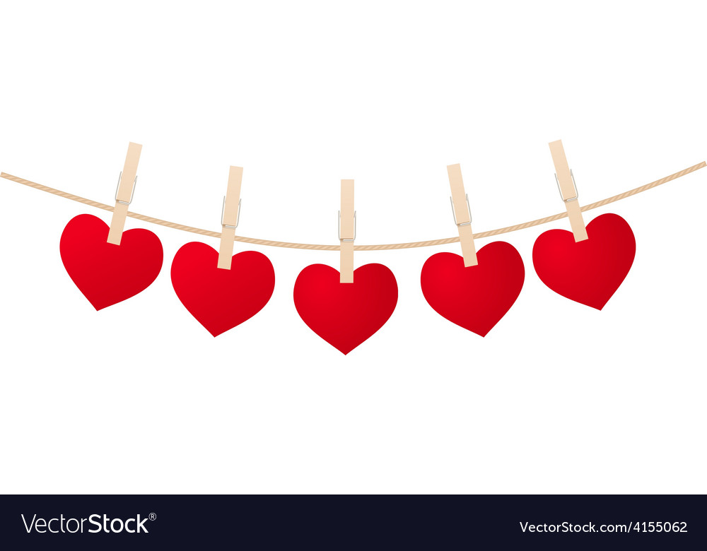 Hearts clothespins vector | Price: 1 Credit (USD $1)