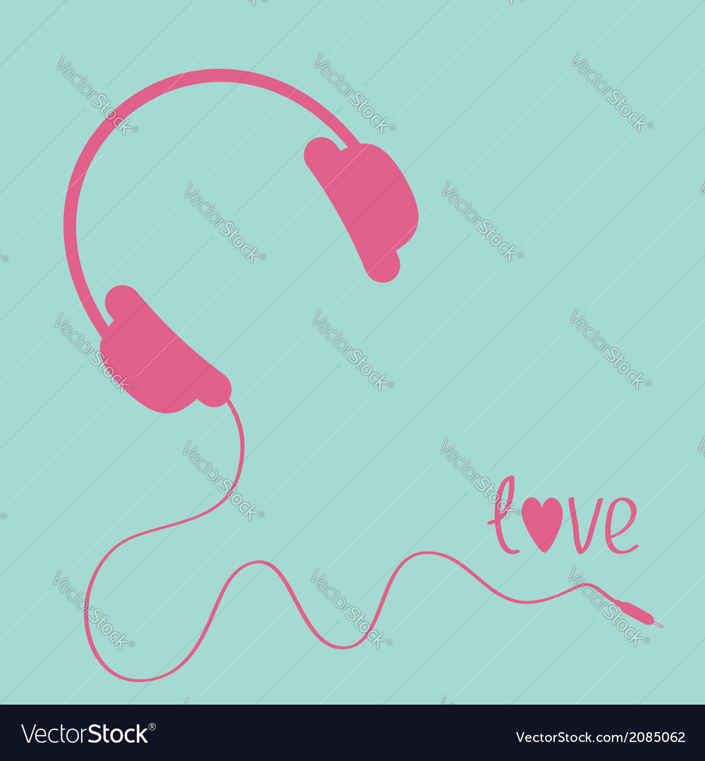 Pink headphones with cord blue background love vector | Price: 1 Credit (USD $1)