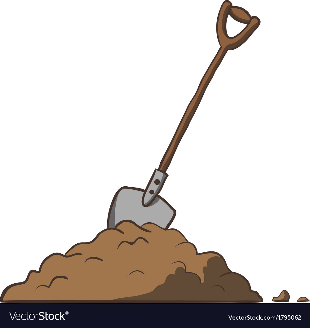 Shovel in dirt cartoon freehand vector | Price: 1 Credit (USD $1)