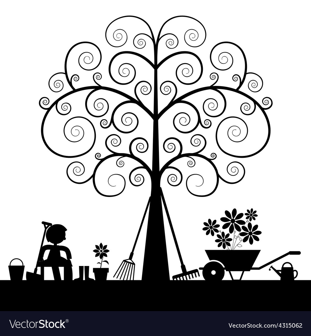 Tree silhouette with gardening tools and sitting vector | Price: 1 Credit (USD $1)