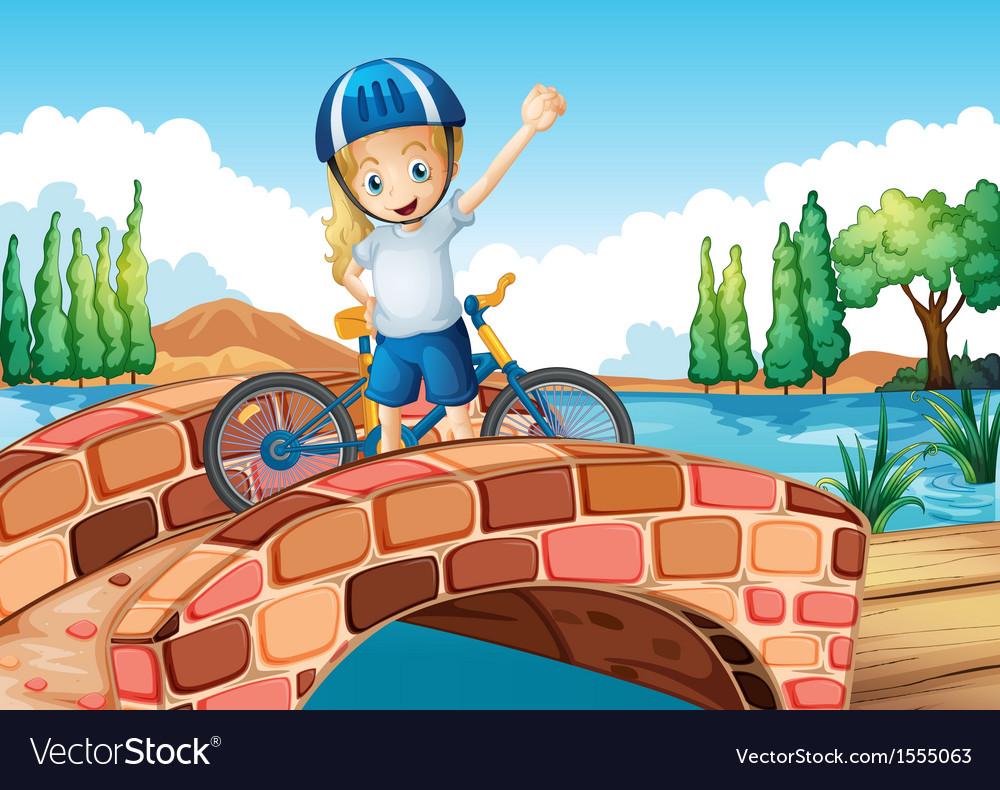 A female biker standing above the bridge vector   Price: 1 Credit (USD $1)