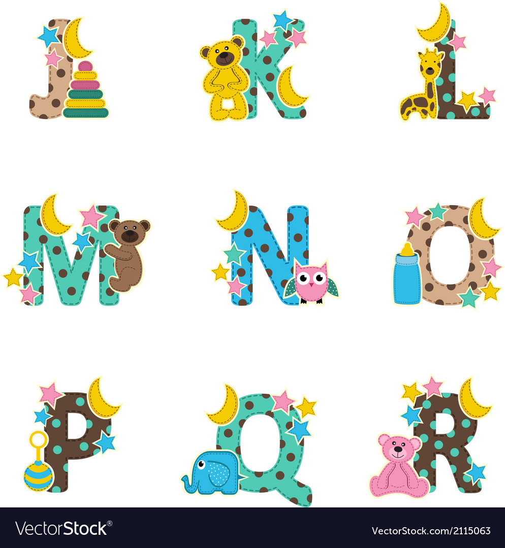 Alphabet baby from j to r vector | Price: 1 Credit (USD $1)