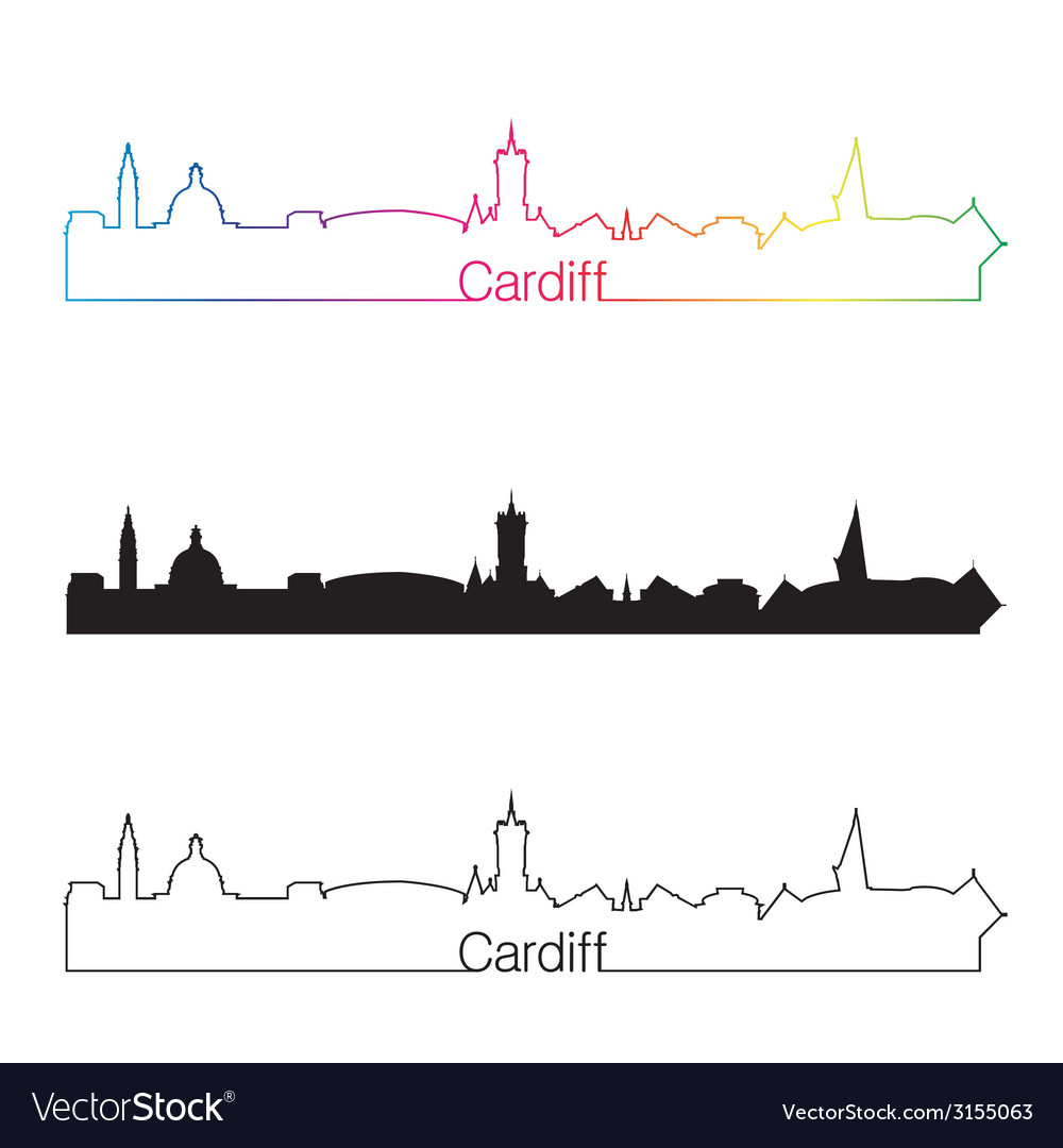Cardiff skyline linear style with rainbow vector | Price: 1 Credit (USD $1)