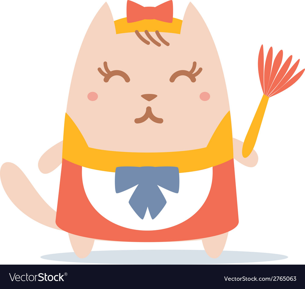 Character maid apron with a bow colorful flat vector | Price: 1 Credit (USD $1)