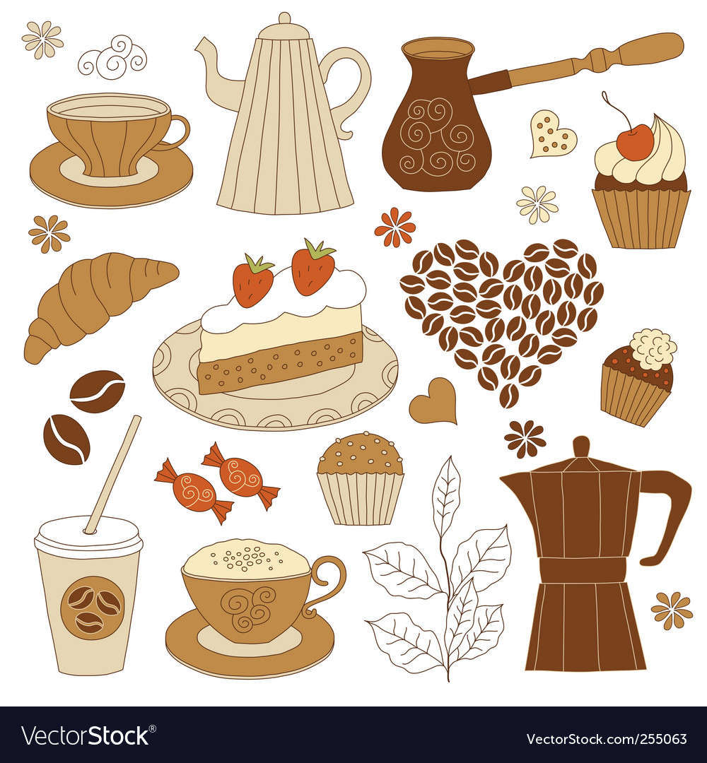 Coffee and dessert set vector | Price: 1 Credit (USD $1)