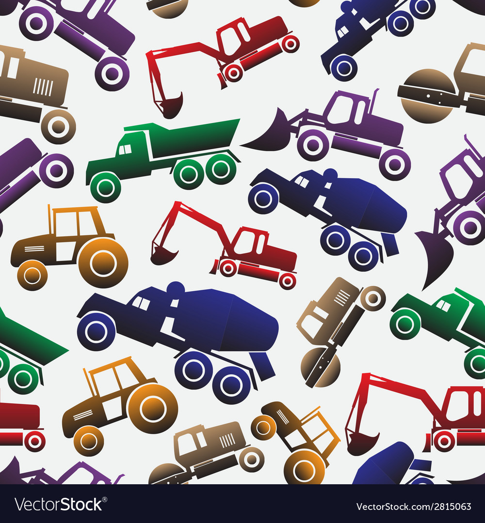 Color heavy machinery cars seamless pattern eps10 vector | Price: 1 Credit (USD $1)