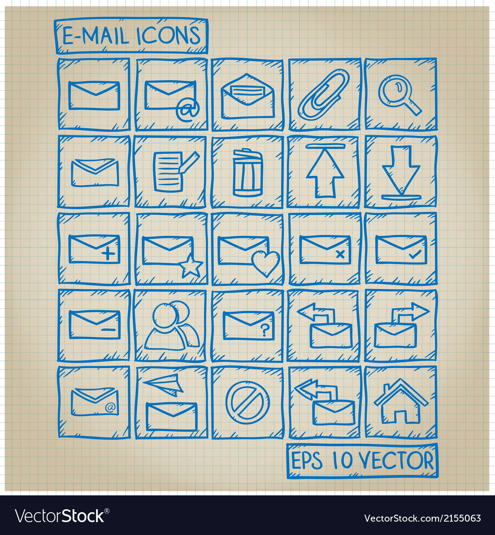 E-mail icon doodle set vector | Price: 1 Credit (USD $1)