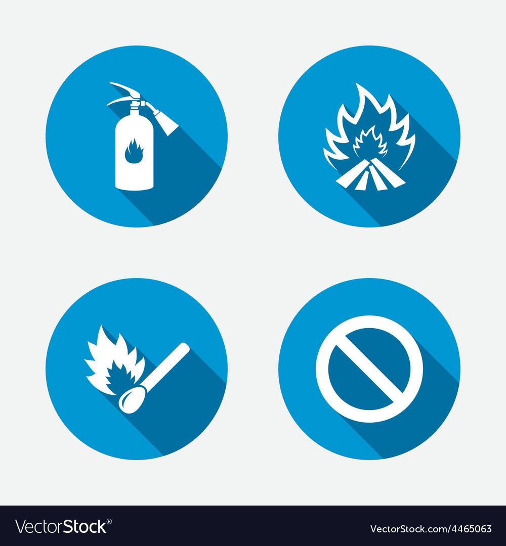 Fire flame icons prohibition stop symbol vector | Price: 1 Credit (USD $1)