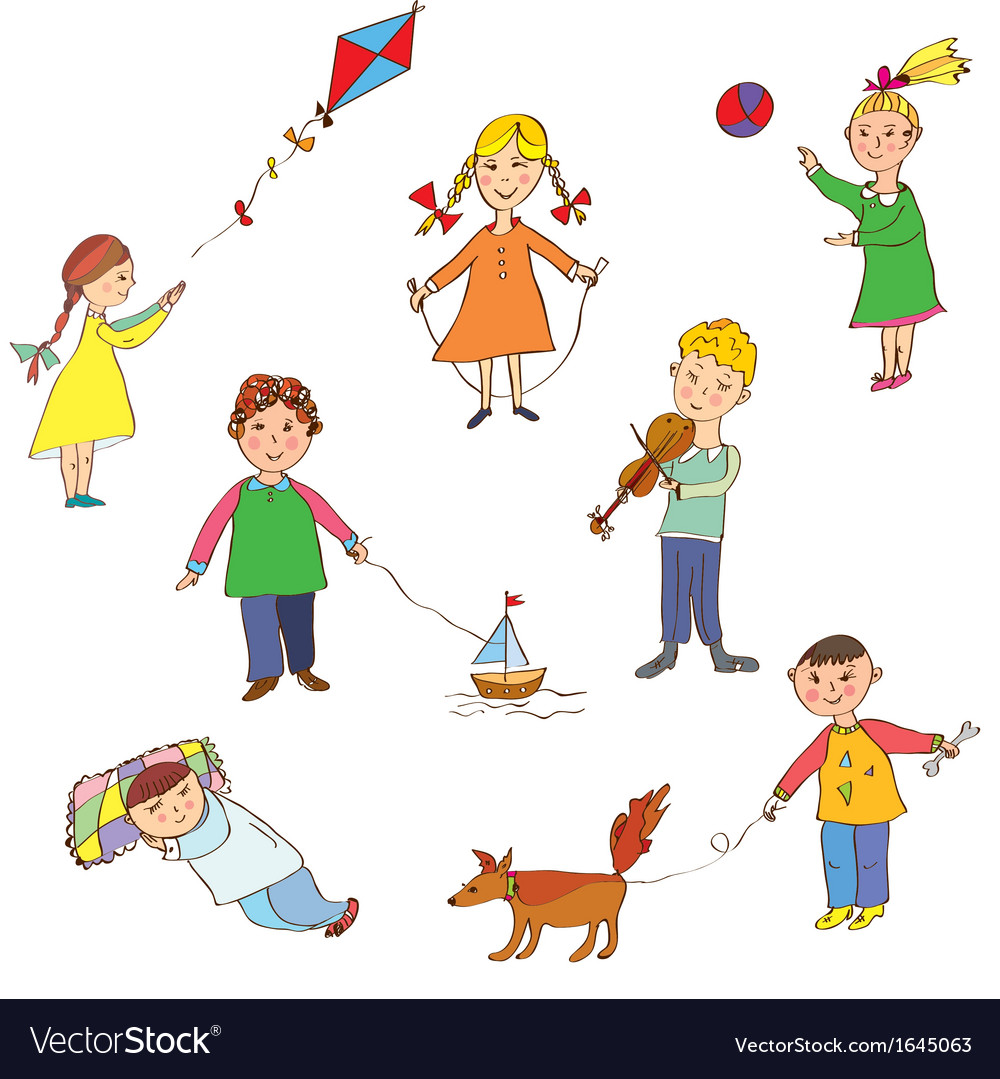 Kids playing cute cartoons vector | Price: 1 Credit (USD $1)