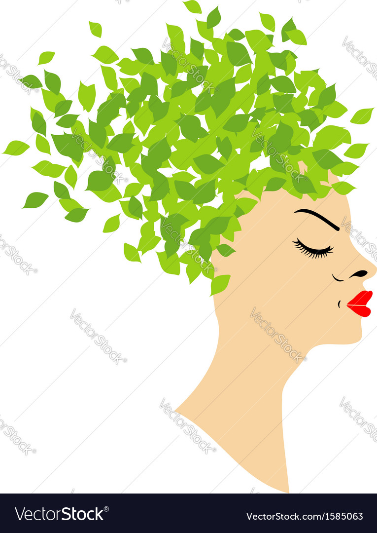 Leafy hair vector | Price: 1 Credit (USD $1)