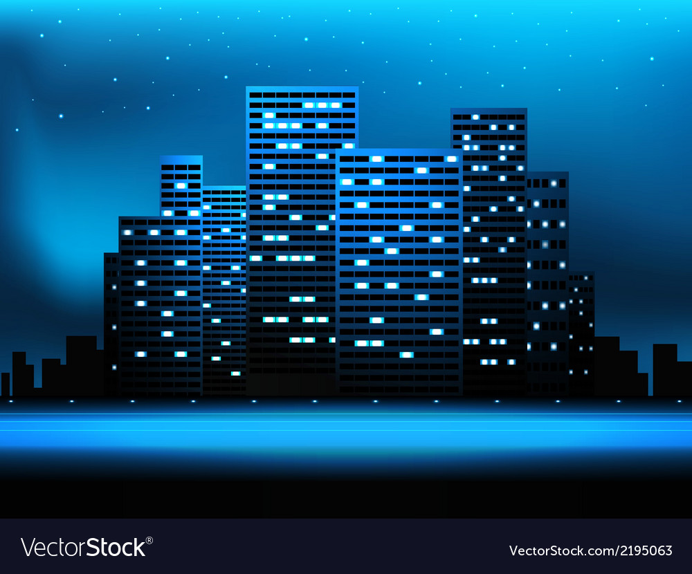 Night city landscape vector | Price: 1 Credit (USD $1)