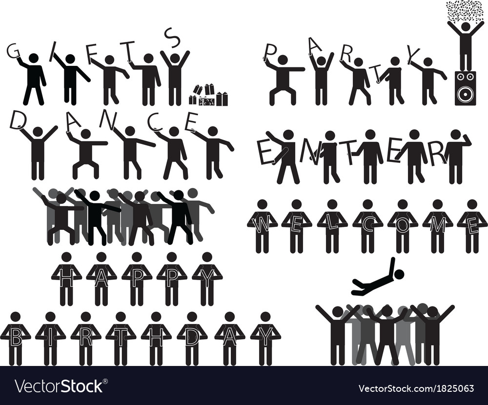 People holding party messages vector | Price: 1 Credit (USD $1)