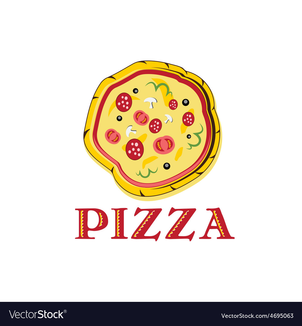 Pizza with tomato sausage and mushrooms vector   Price: 1 Credit (USD $1)