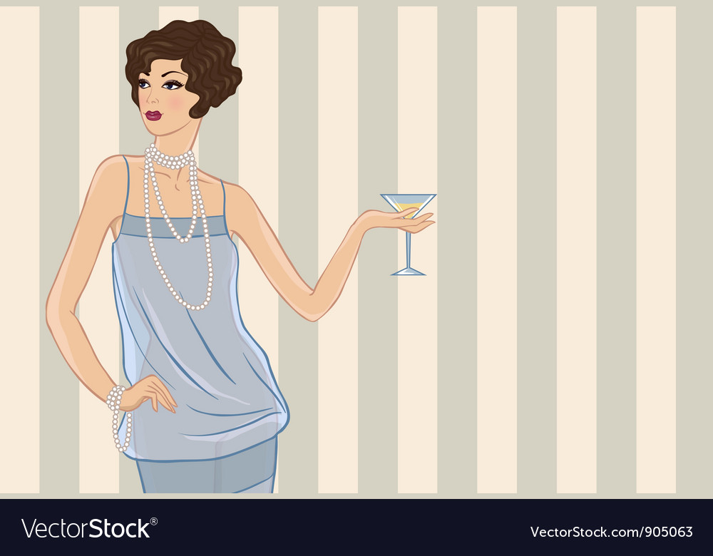 Retro party girl for your design vector | Price: 3 Credit (USD $3)