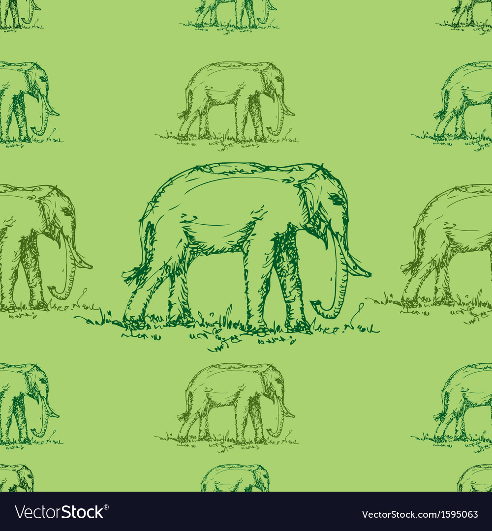 Seamless green tone elephant pattern vector | Price: 1 Credit (USD $1)