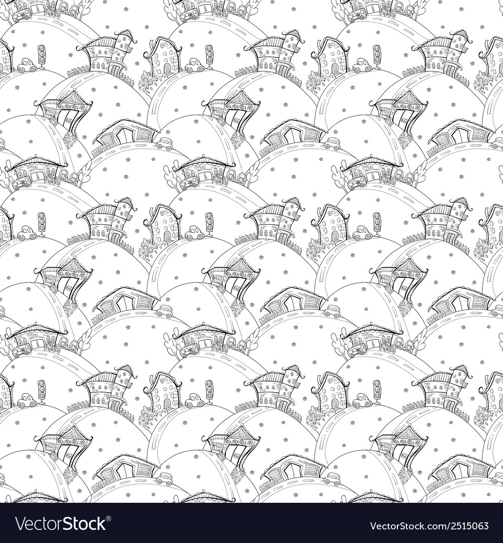 Seamless pattern with cartoon houses vector | Price: 1 Credit (USD $1)