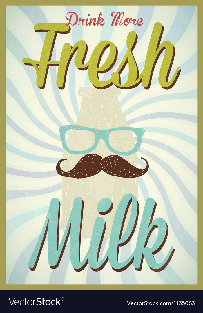 Vintage milk poster typography vector | Price: 1 Credit (USD $1)