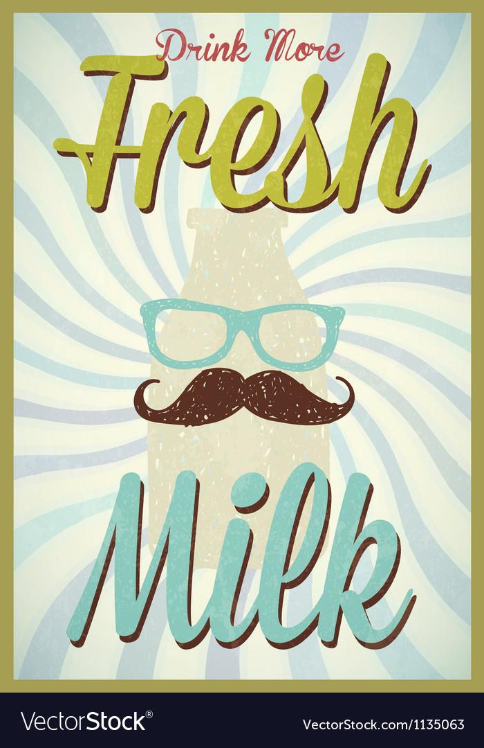 Vintage milk poster typography vector | Price: 1 Credit (USD $1)