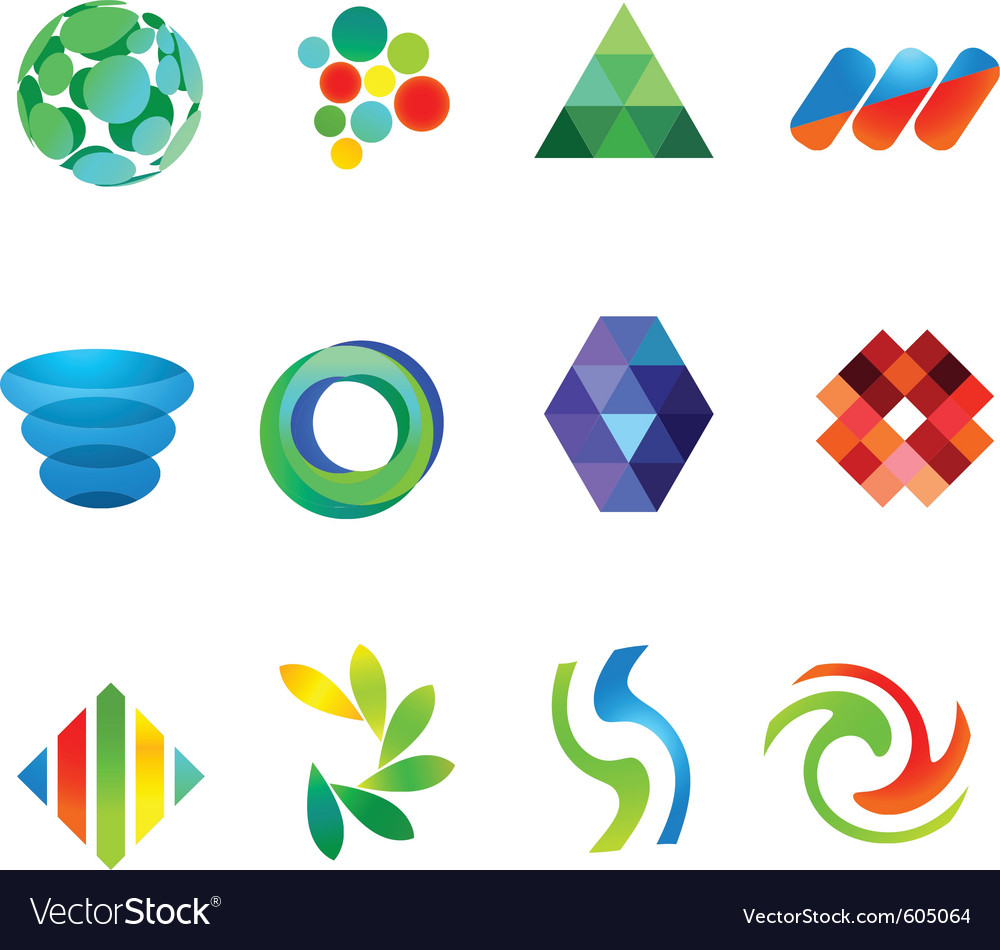 12 colorful symbols set 18 vector | Price: 1 Credit (USD $1)